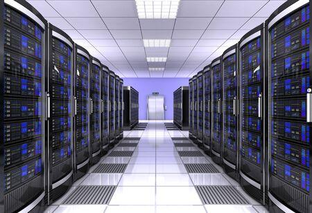 illustration 3d de concept de salle de serveur de poste de travail de réseau