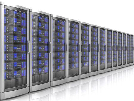network workstation servers 3d illustration isolated on white background