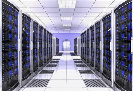 Ilustración 3d del concepto de sala de servidores de estación de trabajo de red