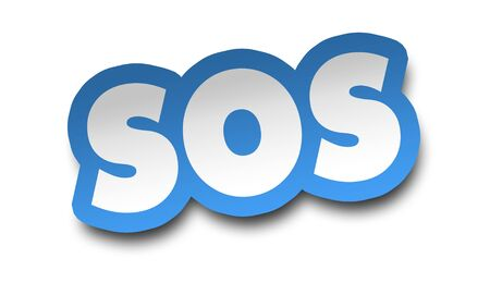 sos concept 3d illustration isolated on white background