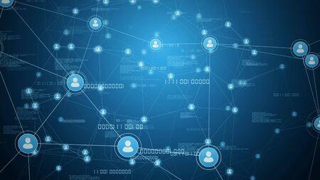 business network connections concept 3d illustration