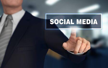 social media      with finger pushing concept 3d illustration