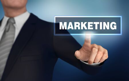 marketing      with finger pushing concept 3d illustration Stock Photo