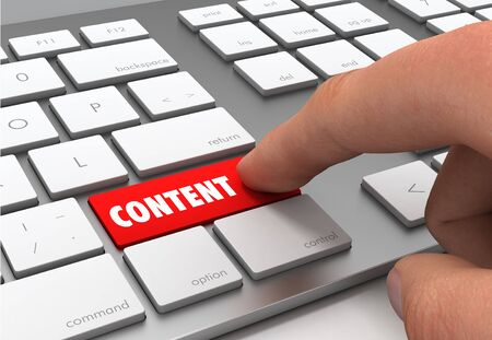 pushing content button key concept 3d illustration Stock Photo