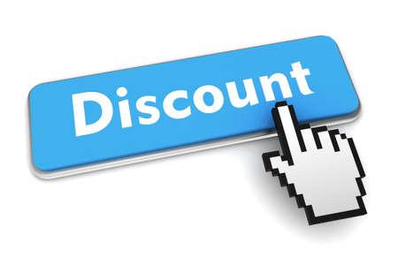 discount push button concept 3d illustration isolated Banque d'images