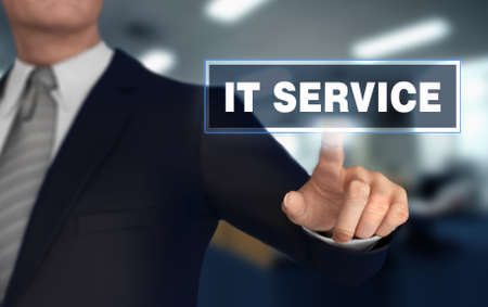 it service with finger pushing concept 3d illustration