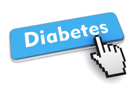 diabetes push button concept 3d illustration isolated