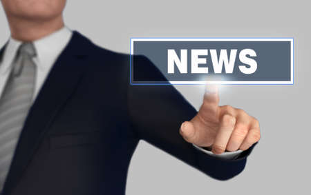 news      with finger pushing concept 3d illustration