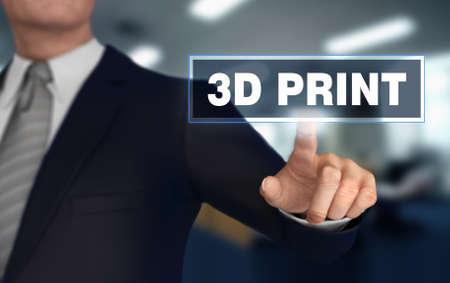 3d print      with finger pushing concept 3d illustration Standard-Bild