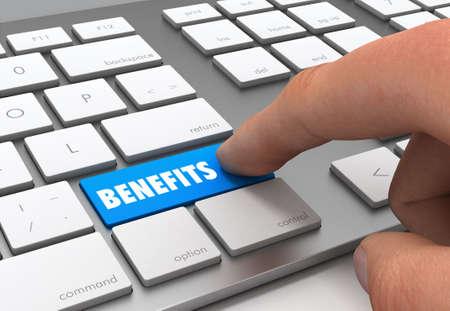 pushing benefits button key concept 3d illustration Standard-Bild
