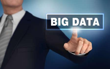 big data      with finger pushing concept 3d illustration
