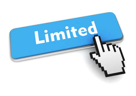 limited push button concept 3d illustration isolated Standard-Bild