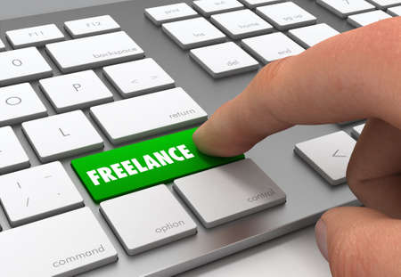 freelance push button concept 3d illustration isolated Standard-Bild