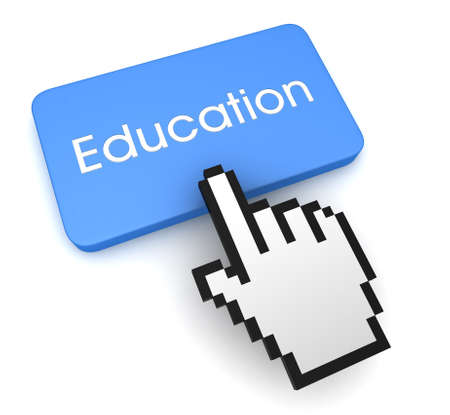 education push button concept 3d illustration isolated