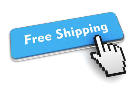 free shipping push button concept 3d illustration isolated Standard-Bild