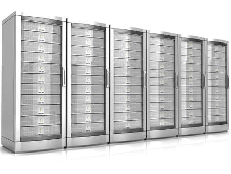 network workstation servers 3d illustration isolated on white background