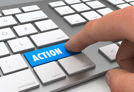 pushing action button key concept 3d illustration Standard-Bild