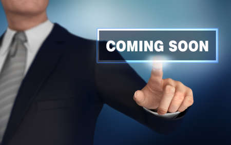 coming soon with finger pushing concept 3d illustration Stock Photo