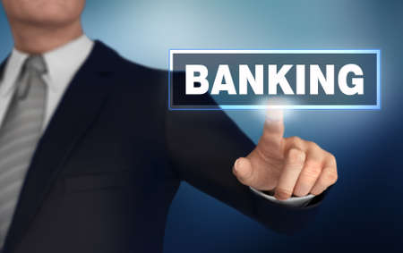 banking with finger pushing concept 3d illustration Stock Illustration - 163716099