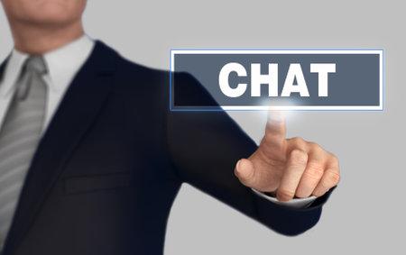chat with finger pushing concept 3d illustration Standard-Bild