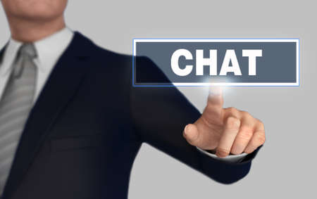 chat with finger pushing concept 3d illustration Stock Photo