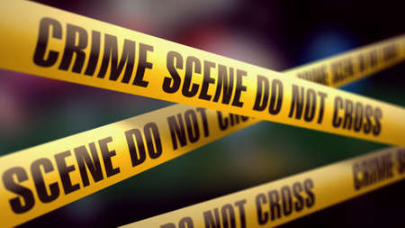 crime scene do not enter bands 3d illustration