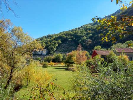 Beautiful autumn nature Park in the Boka, Morin, Montenegro