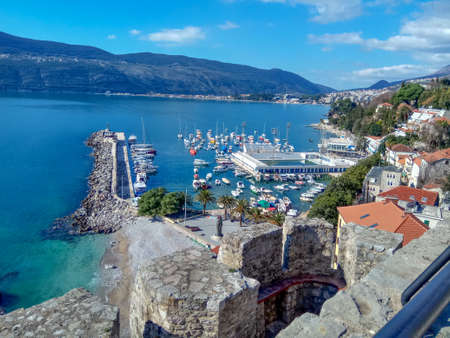City center near the water in the area with a yacht harbor and swimming pool. Herceg-Novi, Montenegro.