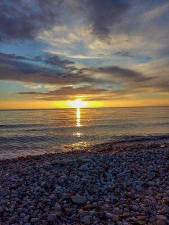 Sunset over the Adriatic sea beach, Europe