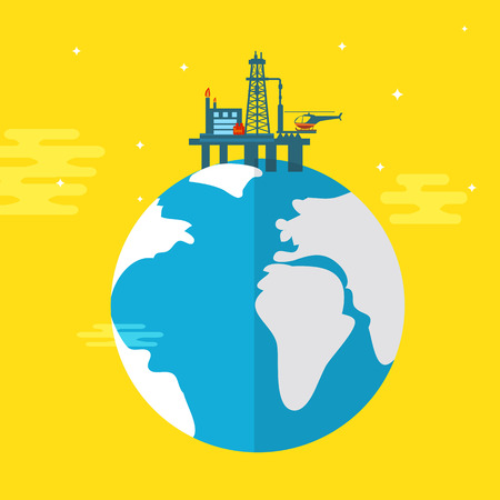 oil platform: Oil platform flat illustration
