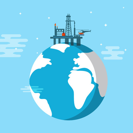 Oil platform flat illustration
