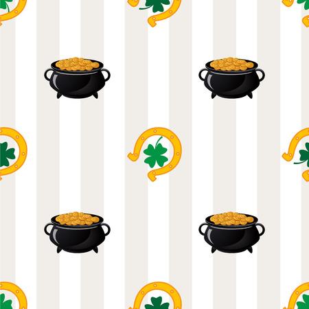 Green shamrock leaves and horseshoes . St. Patricks day background. Illustration