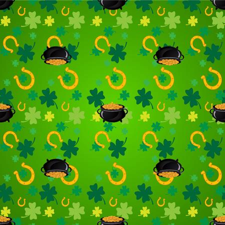 irish culture: Green shamrock leaves and horseshoes . St. Patricks day background. Illustration