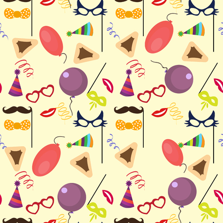 purim carnival party: Seamless holiday Purim pattern . Illustration