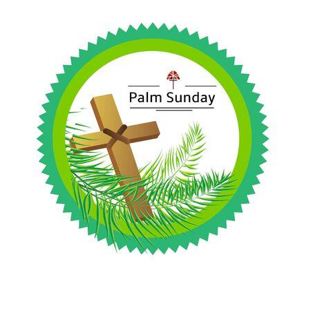 Palm sunday emblem with palm leaves eps 10 Illusztráció
