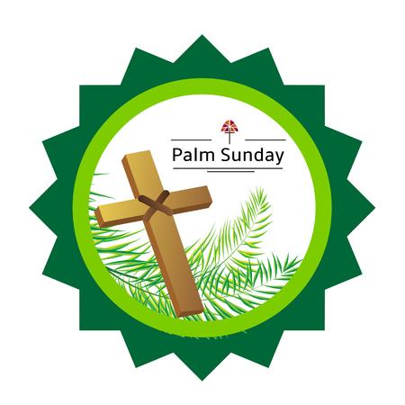 christianity palm sunday: Palm sunday emblem with palm leaves eps 10 Illustration
