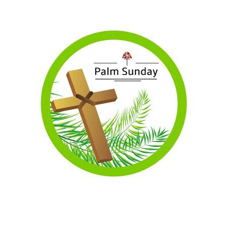 frond: Palm sunday emblem with palm leaves eps 10 Illustration