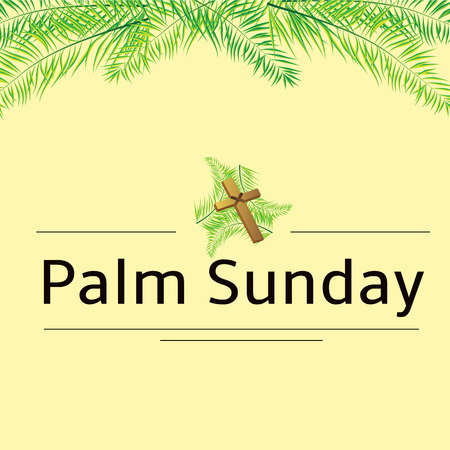 christian: Palm leafs vector background with place for text.