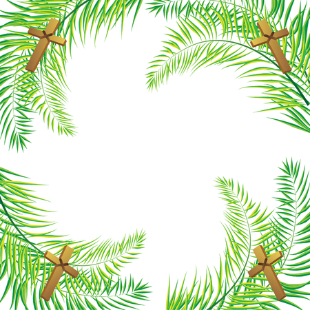 leafs: Palm leafs vector background with place for text.