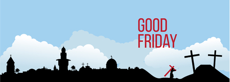 heaven: Good Friday background concept with Illustration of Jesus cross eps 10.