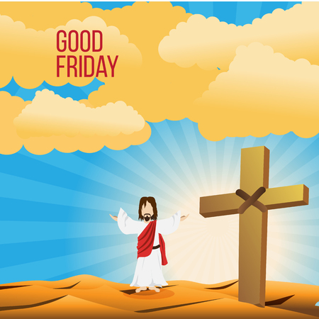 golgotha: Good Friday background concept with Illustration of Jesus cross eps 10.
