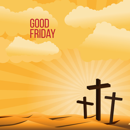 golgotha: Good Friday background concept with Illustration of Jesus cross eps