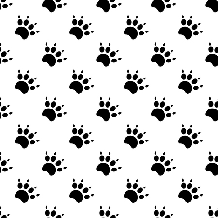 leon de dibujos animados: Las huellas de gato Patrón textil. Vector seamless.eps 10.
