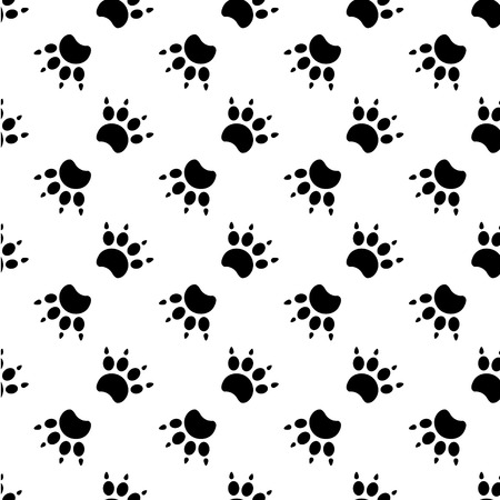 leon caricatura: Las huellas de gato Patr�n textil. Vector seamless.eps 10.