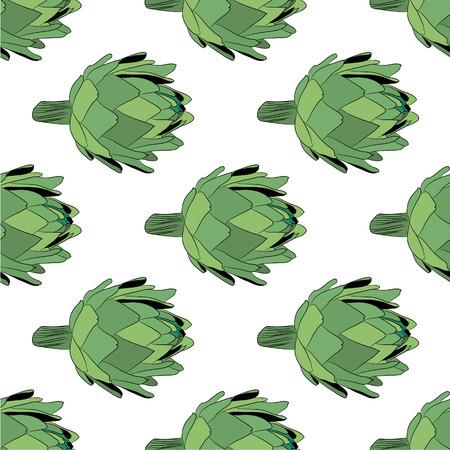 artichoke: vector  illustration of artichoke, organic vegan background, healthy food seamless pattern eps 10