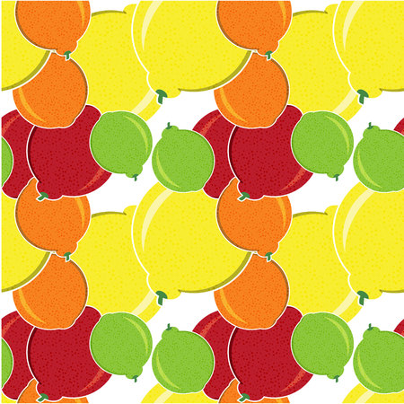 Seamless Pattern of Fruit, Fruit Background, Citrus Pattern, Orange , Yellow Lemon, Mandarin, Green Lime , Vector Illustration