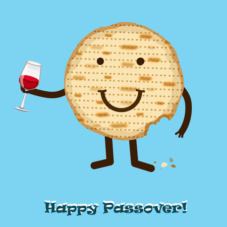 seder plate: Funny Happy Jewish Passover greeting card. Vector illustration eps 10