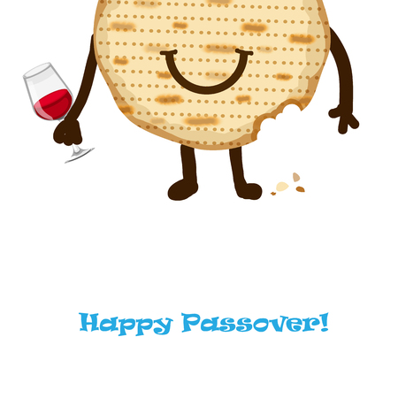 seyder: Funny Happy Jewish Passover greeting card. Vector illustration eps 10