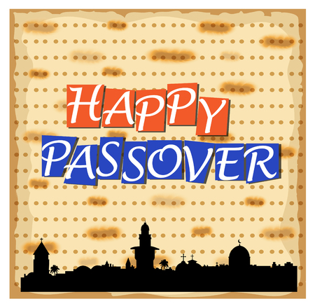 matza: Vector illustration for Happy Passover with Jerusalem