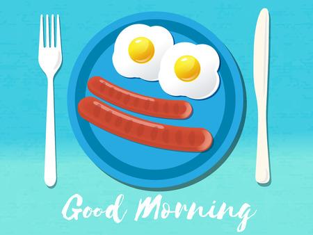 omelet: Good morning phrase. Breakfast omelet. Vector illustration. eps 10 Illustration